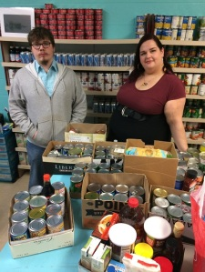 Here Jack and Cristina Ayala pose with some of the donations.